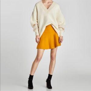 ZARA Knit Fit and Flare Mustard Yellow Skirt